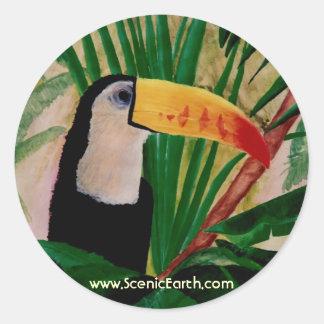 Em casa na etiqueta de Toucan do impressão da Adesivos Em Formato Redondos