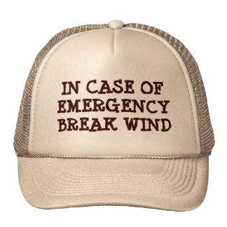Em caso de urgência vento da ruptura boné
