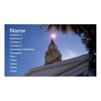 Em cima deste cartão de visita do steeple da igrej