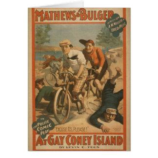 """Em Coney Island alegre, """"desculpe-nos, por favor!"""" Cartao"""