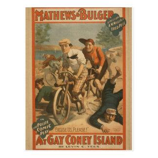 """Em Coney Island alegre, """"desculpe-nos, por favor!"""" Cartões Postais"""