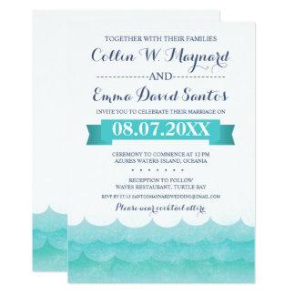 Em convites náuticos do casamento do mar
