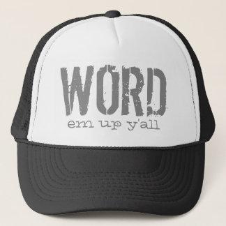 Em da palavra acima de você chapéu da impressão da boné