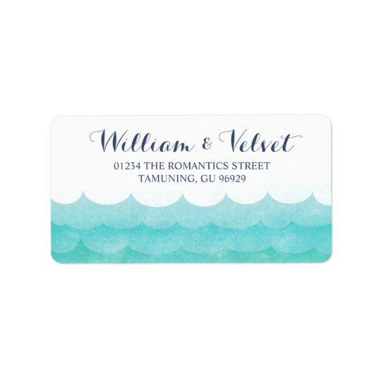 Em etiquetas de casamento náuticas do mar etiqueta de endereço