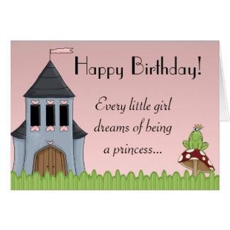 Em meu cartão cor-de-rosa da princesa feliz aniver
