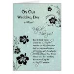 Em nosso ~ do dia do casamento porque faça eu te cartão comemorativo