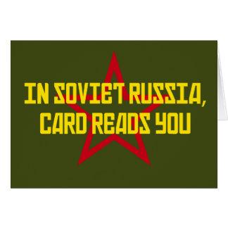 Em Rússia soviética o cartão lê-o