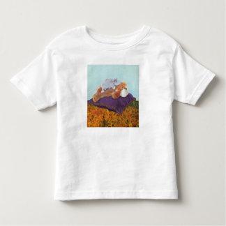 """""""Em todo o mundo"""" camisa fina do jérsei T da"""
