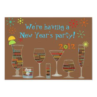 Em todo o mundo véspera de Ano Novo Invitati dos Convite 12.7 X 17.78cm