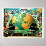 Em todo o mundo viagens vintage da viagem poster