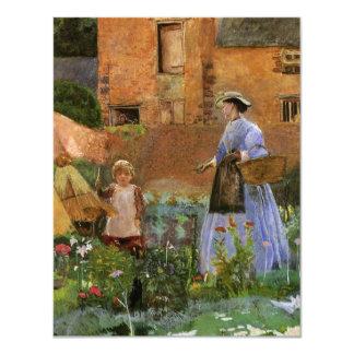 Em um jardim em Cookham, Pinwell, Victorian Convite Personalizado