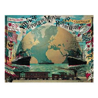 Em volta da arte do poster vintage da viagem do cartão postal
