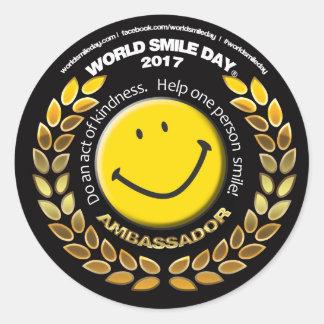 Embaixador do dia do sorriso do mundo etiqueta