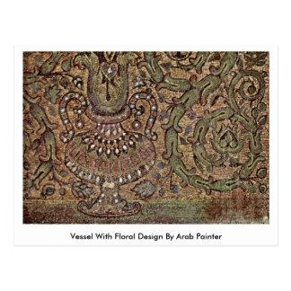 Embarcação com design floral pelo pintor árabe cartao postal