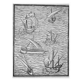 Embarcações de navegadores espanhóis adiantados cartão postal