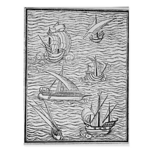 Embarcações de navegadores espanhóis adiantados cartões postais