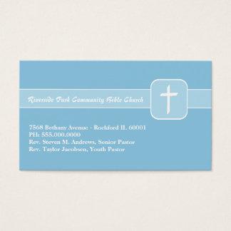 Emblema azul do ministério da igreja cristã com cartão de visitas