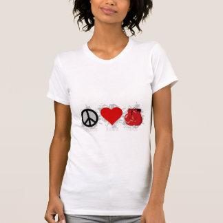 Emblema da caixa do amor da paz camiseta
