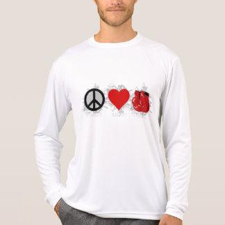 Emblema da caixa do amor da paz tshirts