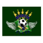 Emblema do logotipo de Brasil de cinco estrelas Cartão Postal