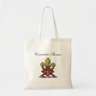 Emblema heráldico vermelho da flor de lis da bolsa tote