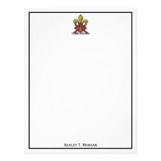 Emblema heráldico vermelho da flor de lis da papel timbrado