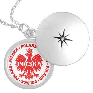 Emblema polonês de Polska Eagle Colar Banhado A Prata