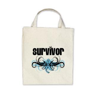 Emblema voado Grunge do sobrevivente do cancro da  Bolsa De Lona