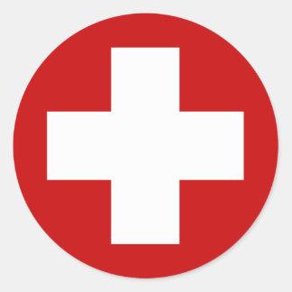 Emergência suíça Roundell da cruz vermelha Adesivos Redondos