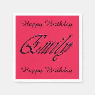 Emily, nome, logotipo, guardanapo cor-de-rosa da