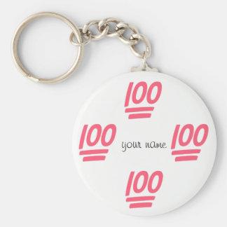 """Emoji 100% e '' seu nome aqui """" chaveiro"""