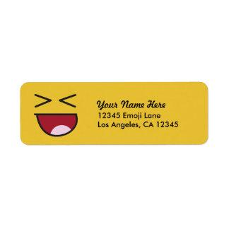 Emoji de riso eyed cruzado engraçado etiqueta endereço de retorno