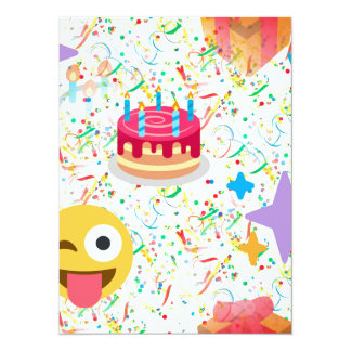 emoji do feliz aniversario convite 13.97 x 19.05cm