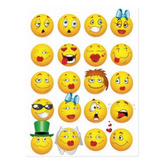 Emoji engraçado enfrenta sorrisos impressionantes cartão postal