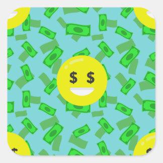 emoji eyed dinheiro adesivo quadrado