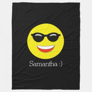Emoji feito sob encomenda amarelo preto cobertor de velo
