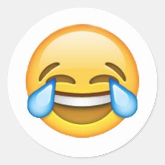 Emoji - rasgos da alegria adesivo redondo