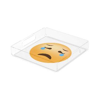 Emoji triste bandeja de acrílico
