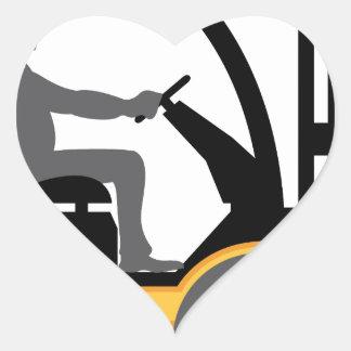 Empilhadeira amarela adesivo coração