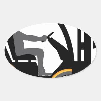 Empilhadeira amarela adesivo oval