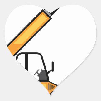 Empilhadeira da construção adesivo coração