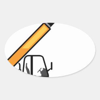 Empilhadeira da construção adesivo oval