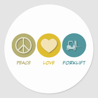 Empilhadeira do amor da paz adesivo em formato redondo