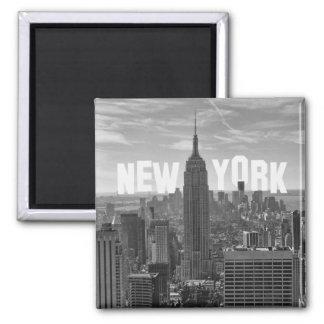 Empire State Building da skyline de NYC, WTC BW 2C Ímã Quadrado