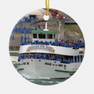 Empregada doméstica do barco da névoa: Niagara Ornamento De Cerâmica Redondo