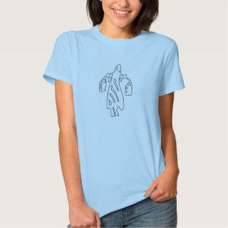 Empregada doméstica tribal da silhueta do balde de camiseta