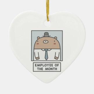 Empregado do mês ornamento de cerâmica coração