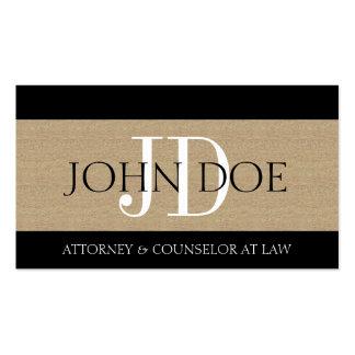 Empresa de advocacia Tan Textured monograma do adv Modelo De Cartões De Visita