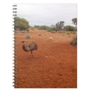 Emu australiano no caderno do interior