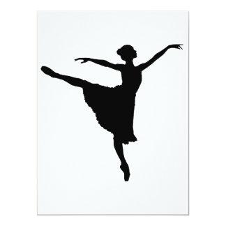 En Pointe da BAILARINA (silhueta) do dançarino de Convite 16.51 X 22.22cm